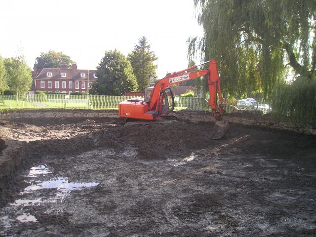 - As this was a listed monument it posed unusual challenges. We were ngaged to de-silt and repair this pond which was set in a roundabout on the A25 this proved a most unusual task, The pond was relined with clay on a bentomat liner. The masonry was also taken down and rebuilt.